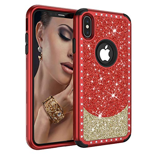 Diamond Case for iPhone Xs Max 6.5 Inch 2018, ZAOX 3 Layer Elegant Heavy Duty Defender Cute Glitter Bling Full Body Design Protective Case for Girls Women Hybrid Rugged Luxury Hard Cover (Red Gold)
