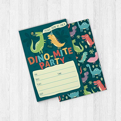 Dinosaur Kids Party Invitation Cards - Lots of Fun with a Pun! 25 High Quality Invites with Envelopes for T-Rex Kids Party, Jurassic Birthday or a Dino Themed Baby Shower. by PartyGraphix (Image #3)