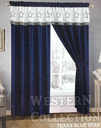 (Western Collection 5 Pc Western Navy Blue White Texas Lone Star Cabin Lodge Cowboy Luxury Quilt Bedspread Oversize Comforter (Curtain, Navy Curtain) )