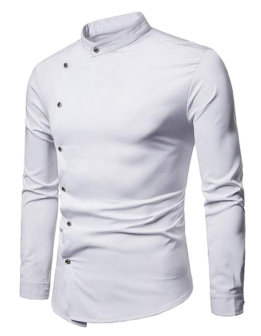 Fubotevic Mens Slim Fit Long Sleeve Irregular Plain Button Down Button Up Dress Shirt