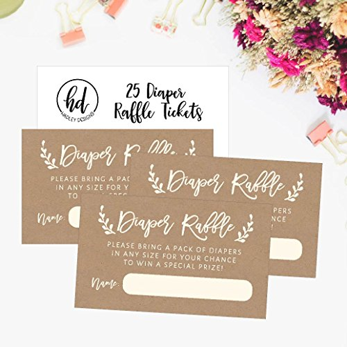 25 Diaper Raffle Ticket Lottery Insert Cards for Rustic Kraft Baby Shower Invitations, Supplies and Games for Baby Reveal Party, Gender Neutral Bring a Pack of Diapers to Win Favors, Gifts and Prizes by Hadley Designs (Image #2)