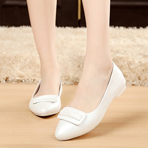 SSBY En Otoño Calzado Zapatos Plana Zapatos Blancos Señaló white