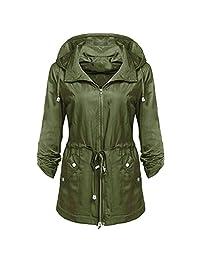 XILALU Women Waterproof Lightweight Rain Jacket Anorak Detachable Hooded Coat