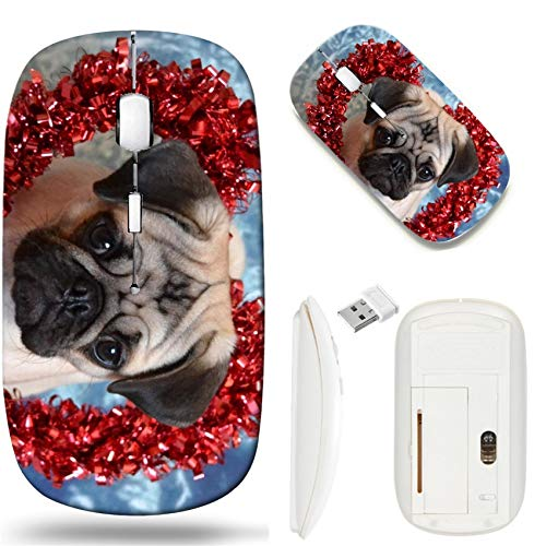 Wireless Mouse 2.4G White Base Travel Wireless Mice with USB Receiver, Noiseless and Silent Click with 1000 DPI for Notebook pc Laptop Computer MacBook Image of Dog Animal Pug Canine Cute Puppy mop p