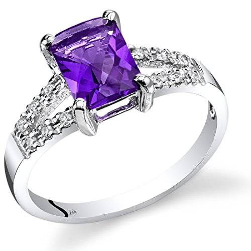 (14K White Gold Amethyst Diamond Venetian Ring 1.25 Carats Total )