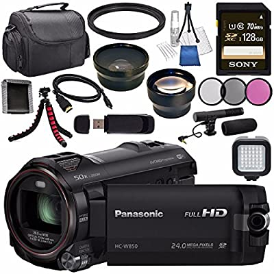 Panasonic HC-W850 HC-W850K Twin Camera Full HD Camcorder + Sony 128GB SDXC Card + Flexible Tripod + Carrying Case + Memory Card Wallet + Card Reader + HDMI Cable + LED Light + Condenser Mic Bundle