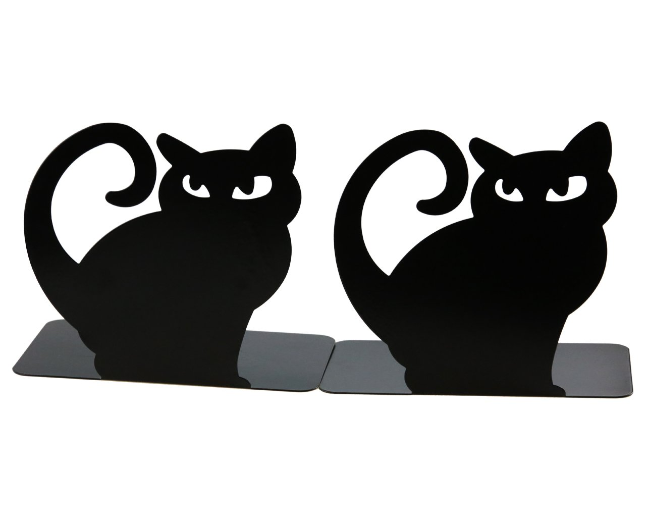 Cute Vivid Lovely Persian Cat Book Organizer Metal Bookends For Kids School Library Desk Study Home Office Decoration Gift (Black)