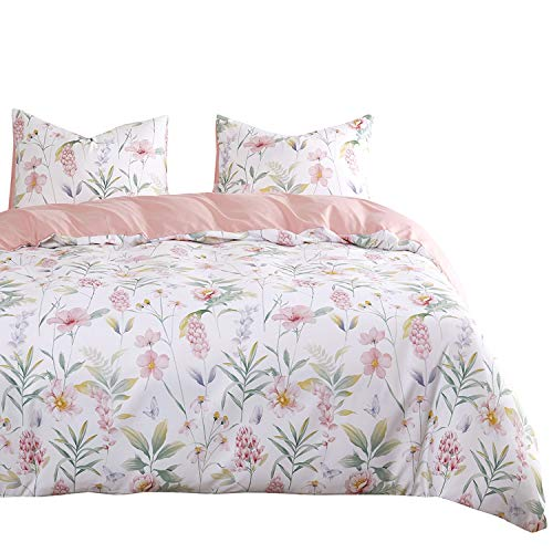 Wake In Cloud - Floral Comforter Set, Pink Botanical Flowers and Green Tree Leaves Pattern Printed on White, Soft Microfiber Bedding (3pcs, Queen Size) (Comforter Green Floral)