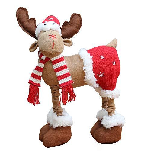 MomeChristmas Decoration 1PC Handmade Christmas Plush Rustic Plaid Moose Stuffed Animal Gift Home Ornaments for Tabletop Desktop Bedroom Office Ornament (B)