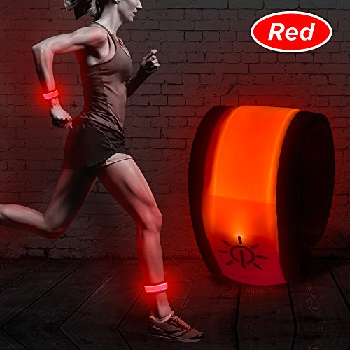 Higo LED Slap Band,Glow Bracelet,Heat Sealed Lighten UP Sport Armband for Running Walking Cycling Concert Camping Outdoor Sports (Red)