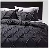 Threshold 3 Piece Gray Pinched Pleat Comforter Set Full/Queen Polyester/Cotton
