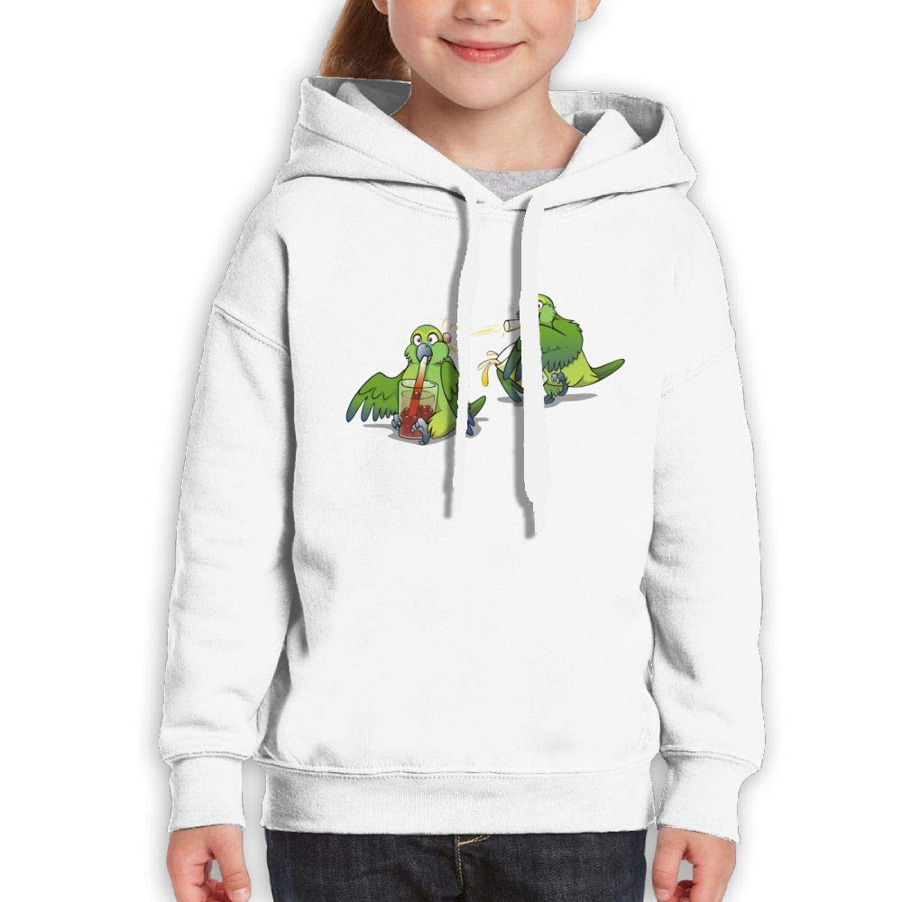 Qiop Nee Cartoon Bird Drinking Bubble Tea Youth Hoodies Print Long Sleeve Sweatshirt