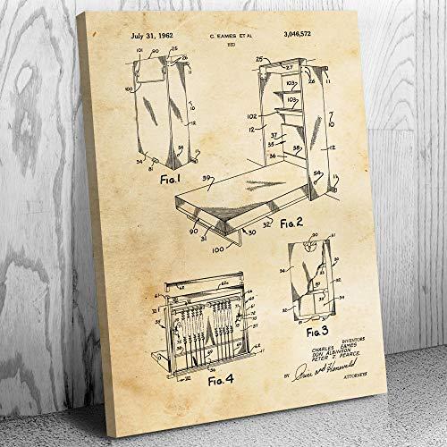 Eames Murphy Bed Canvas Print, Fold Down, Wall Bed, Herman Miller, Classic Furniture, Antique Dealer Gift, Bedroom Art Vintage Paper (18