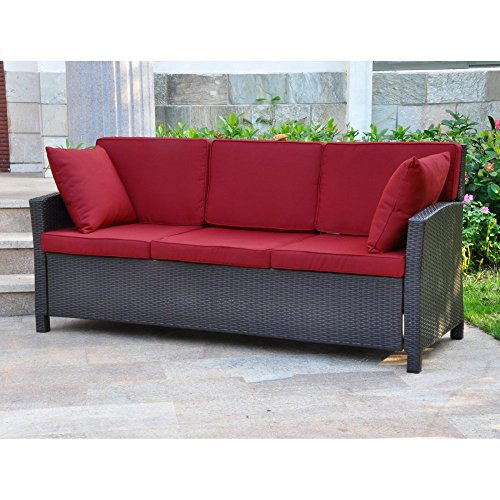 International Caravan Valencia All Weather Wicker Outdoor Contemporary Sofa  With Cushions