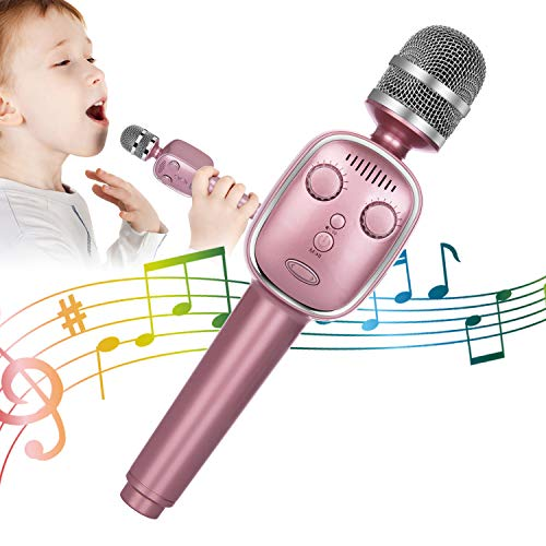 Wireless Bluetooth Karaoke Microphone, 3-in-1 Portable Rechargeable TWS Karaoke Mic Speaker Player Recorder for Kids Adults Christmas Birthday KTV Compatible With iPhone Android iPad PC and More