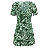 Womens Summer Mini A-line Dress Ladies Short Sleeve Low Collar Beach Party Dot Sundress Short Skirt (Green, Medium)