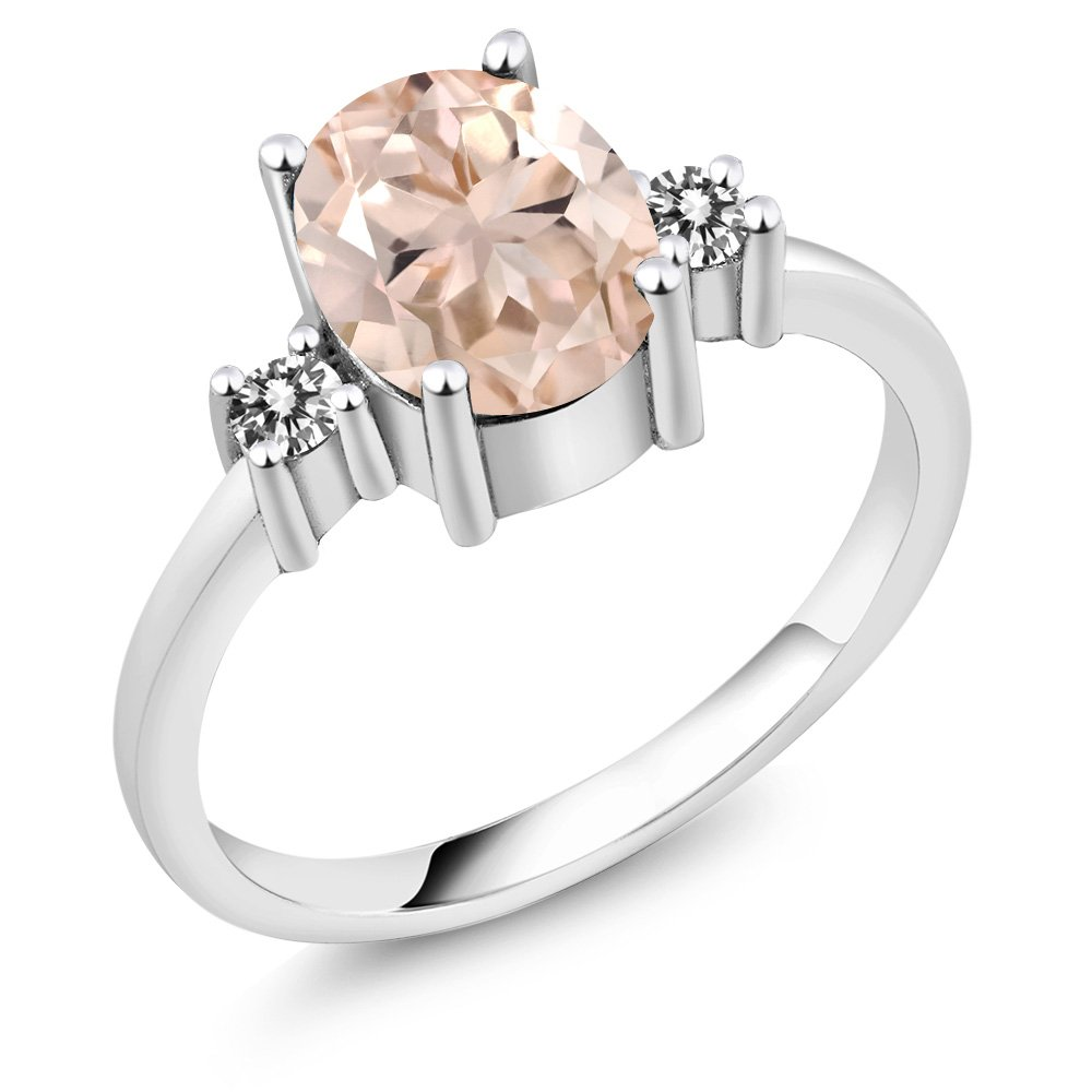 1.73 Ct Oval Peach Morganite White Diamond 925 Sterling Silver Ring (Available in size 5, 6, 7, 8, 9)
