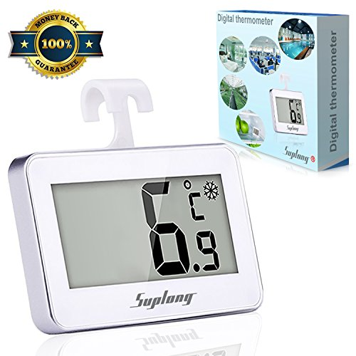 Suplong Digital Refrigerator/Freezer Room Thermometer Large LCD Display Big Digits Easy to Read With Frost Alert Magnetic Back Hanging Hook Retractable Stand -White (White)