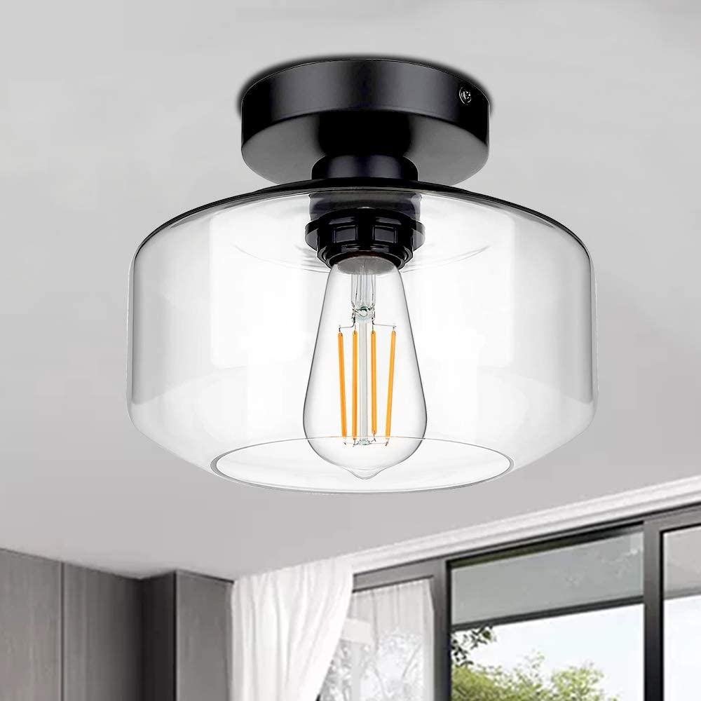 Industrial Semi Flush Mount Ceiling Light, Farmhouse Light Fixture with E26 Base Clear Glass Pendant Lamp Shade, Ceiling Light Fixture for Hallway, Entry, Porch, Kitchen, Bedroom, Dining Room, Bar - -
