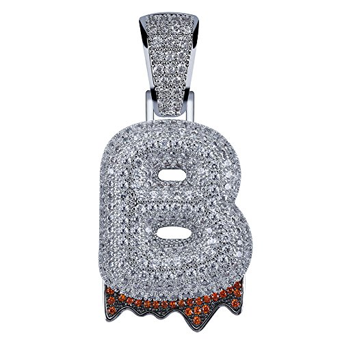 HECHUANG Micropave Simulated Diamond Iced Out Bling Custom Bubble Letters Dripping Initial Pendant with Rope Chain (B Silver, 24)