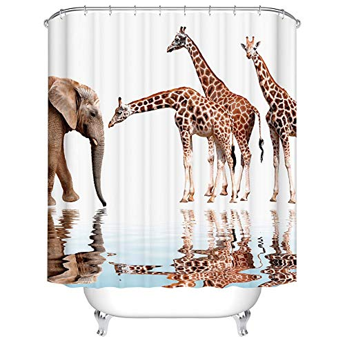 (Boyouth Giraffes and Elephants with Reflection in Water Pattern Digital Print Bath Shower Curtains for Bathroom,Polyester Waterproof Fabric Bath Curtain with 12 Hooks,35x70 Inches,Multicolor)