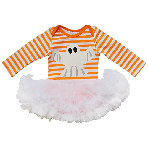 [So Sydney Baby Girl or Boy Long Sleeve Halloween Holiday Onesie Romper Costume (S (3-6 Months), Ghost Stripe with] (Ghost Baby Halloween Costume)