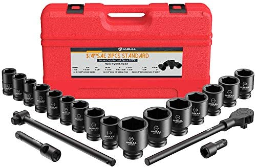 "Anbull 3/4"" Drive Jumbo Impact Socket Set, 21 Piece Shallow Socket Assortment 