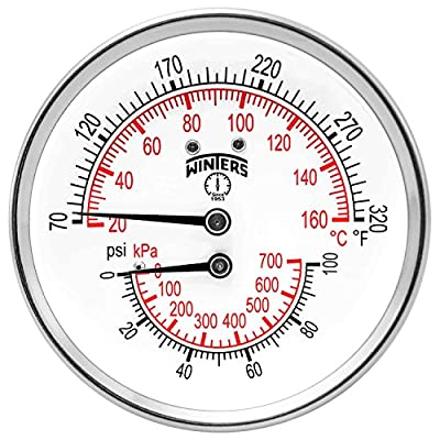 "Winters TTD Series Steel Dual Scale Tridicator Thermometer with 2"" Stem, 0-100psi/kpa, 3"" Dial Display, ±3-2-3% Accuracy, 1/2"" NPT Back Mount, 70-320 Deg F/C"