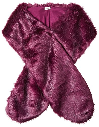 BADGLEY MISCHKA Women's Faux Mink Stole Shawl with Solid Lining, Beetroot, One Size by Badgley Mischka