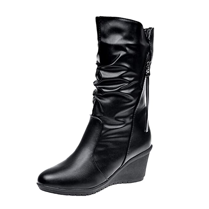 1ee9d2cf3c0 Amazon.com: Clearance! Women's Mid-Calf Booties Soft PU Leather ...