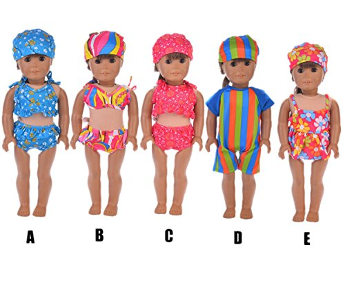 Sunward 1 Set Swimwear Swimsuit For 18 Inch American Girl Doll Gifts Handmade Clothes (E)