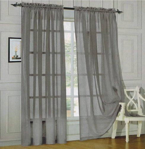 Elegant Comfort 2 Piece Solid Sheer Window Curtains, 60 X 84 Inch, Silver Part 89