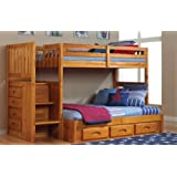 Discovery World Furniture Twin Over Full Staircase Bunk Bed with 3 Drawers - Honey