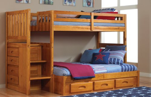 (Discovery World Furniture Twin Over Full Staircase Bunk Bed with 3 Drawers - Honey)