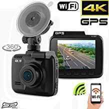 """4K Ultra HD 2160P Car Dash Cam DVR, Dash board Camera, Built In WiFi and GPS, APP Support, 2.4"""" LCD, 150 Wide Angle, G-Sensor, FHD Night Vision, Loop Recording, Motion Detection, Crash Recorder"""