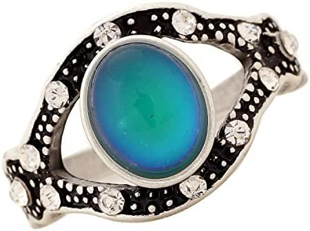 Mojo Vintage Retro Color Change Mood Ring Oval Emotion Feeling Changeable Ring for Women MJ-RS001