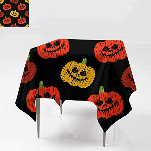 Fbdace Custom Tablecloth,Seamless Decorative Vector Background Happy Halloween Brushwork Hand Hatching Textile Rapport 2 Great for Buffet Table, Parties& More 36x36 Inch]()