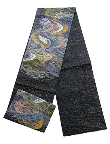 キャンプ郵便局吸収剤リサイクル 袋帯 夏物  櫛織 流水文 正絹 お太鼓柄