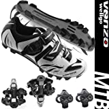 Venzo Mountain Bike Bicycle Cycling Shimano SPD Shoes + Sealed Pedals 45