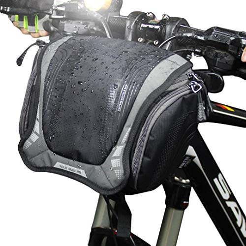WILD MAN Mountain Road Bike Quick-Release Front Handlebar Cycling Bag Waterproof Rainproof for Travel Outdoor Cycling (Deep - Mens Handlebar