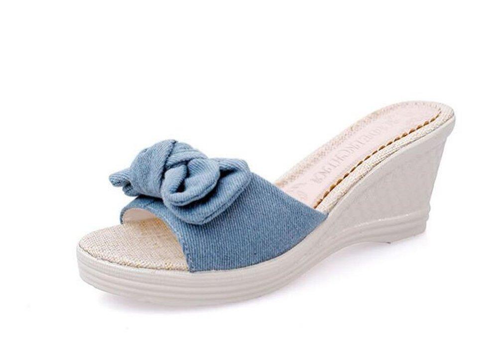 eleganceoo Wedge Sandal for Womens Fashion Lace Bowknot Bohemian Platform Summer Slip-On Slipper B07DBVYQCM 38/7.5 B(M) US Women Blue