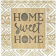 Tela Led Home Sweet Home Dourada/Bege Urban Dourado/Azul Madeira