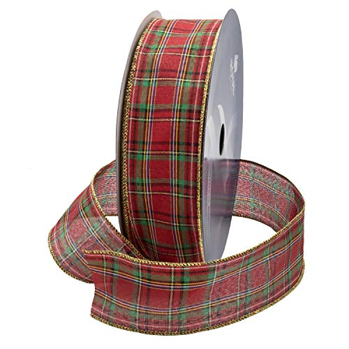 Wired Traditional Red Clarkston Tartan Plaid Christmas Ribbon with Gold Edge 2 1/2
