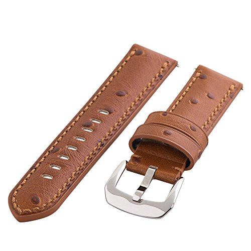 Clockwork Synergy Gentlemen's Collection - 20mm Saddle Ostrich Grain Leather Watch Band
