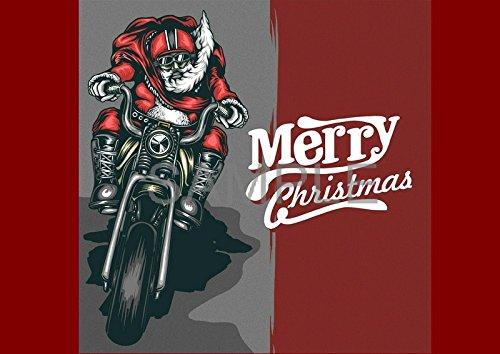 Biker Christmas.Retro Santa Bike Biker Santa Christmas A6 Greetings Card