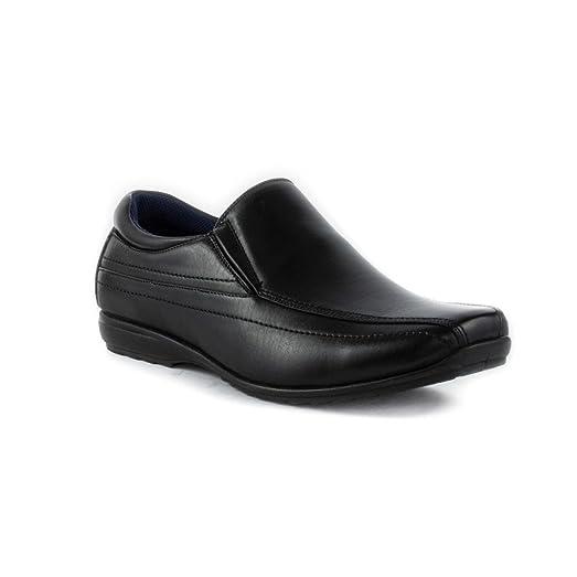 Mens Black Tramline Stitch Loafer Shoe