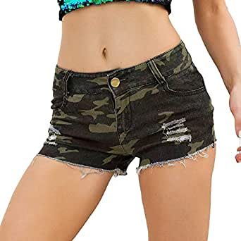 Amazon.com: WQS L001 Casual Women's High-Rise Camo Ripped
