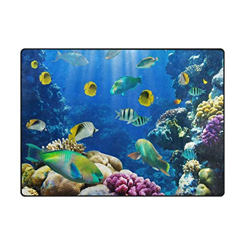 (Area Rug Carpet Tropical Fish on Coral Reef Ultra Soft Non-Slip Runner Mat 3'x5', Indoor Outdoor Sponge Rugs Decor for Living Room Bedroom)