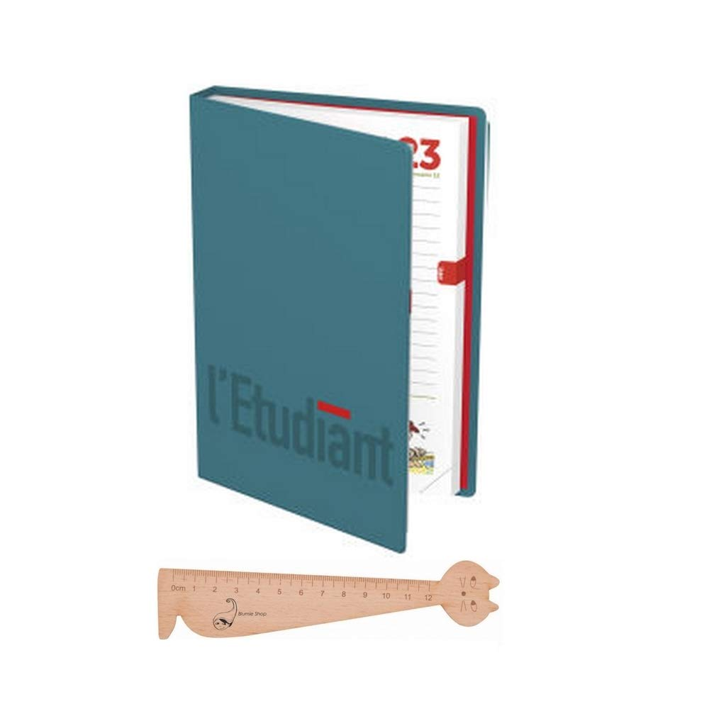 Lot Agenda scolaire L'ETUDIANT 2018-2019 12x17cm HAMELIN Bleu + 1 Rè gle Marque-page en bois Blumie Blumie Shop