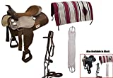 Tahoe Tack Easy Ride Pleasure Trail Western Saddle Set (6 Count), Brown, 15'